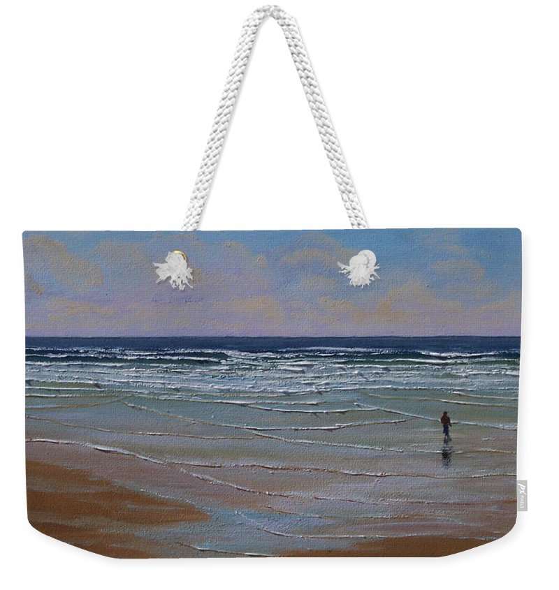 Seascape Weekender Tote Bag featuring the painting The Surf Walker by Frank Wilson