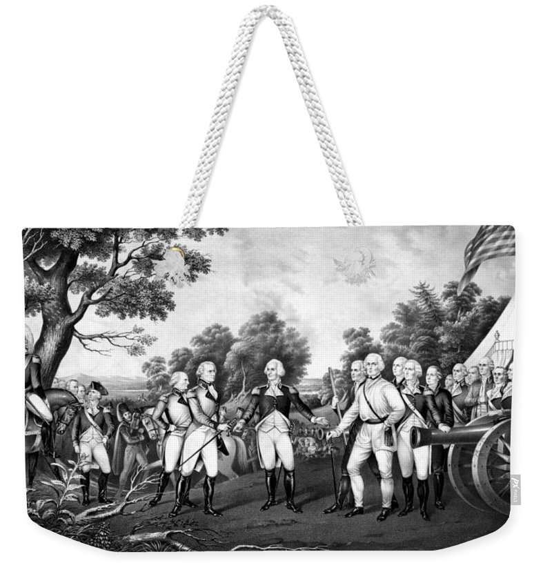 Revolutionary War Weekender Tote Bag featuring the painting The Surrender Of General Burgoyne by War Is Hell Store