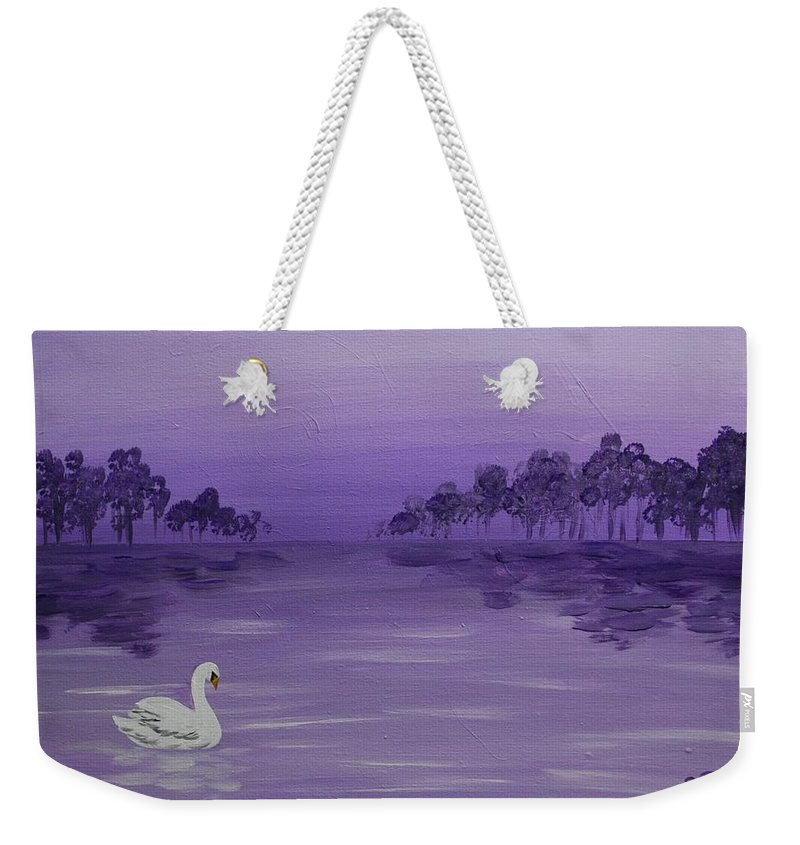 Swan Weekender Tote Bag featuring the painting The Swan by Emily Page