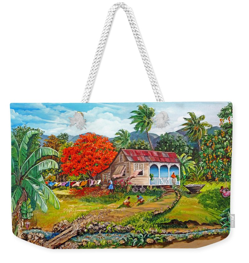 Tropical Scene Caribbean Scene Weekender Tote Bag featuring the painting The Sweet Life by Karin Dawn Kelshall- Best