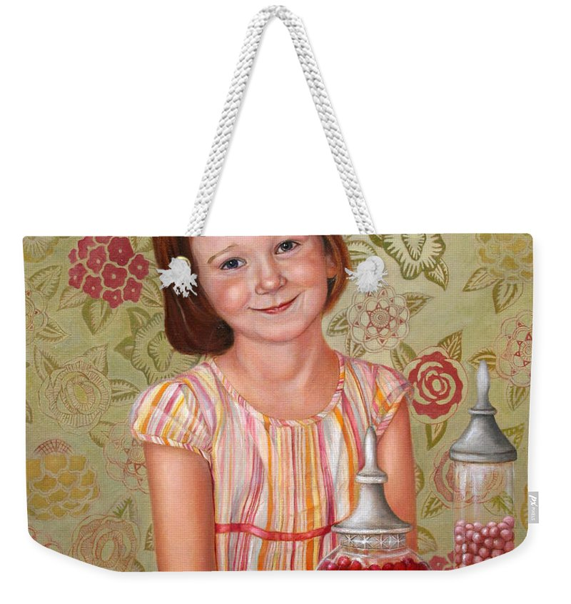 Children Portrait Weekender Tote Bag featuring the painting The Sweet Sneak by Portraits By NC