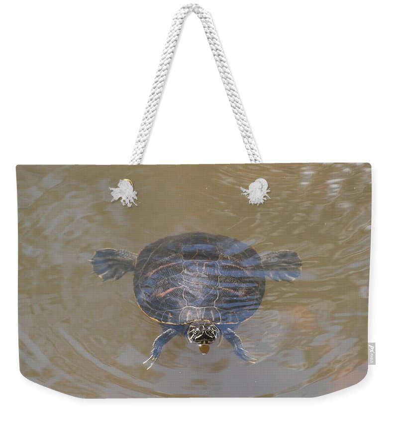 Water Weekender Tote Bag featuring the photograph The Swimming Turtle by Rob Hans