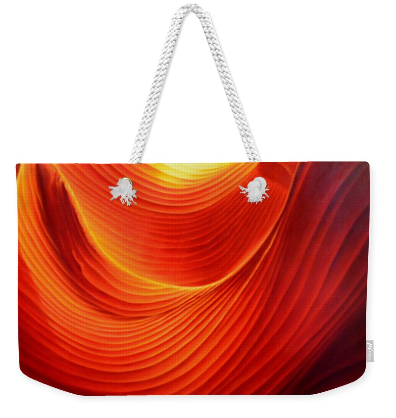 Antelope Canyon Weekender Tote Bag featuring the painting The Swirl by Anni Adkins