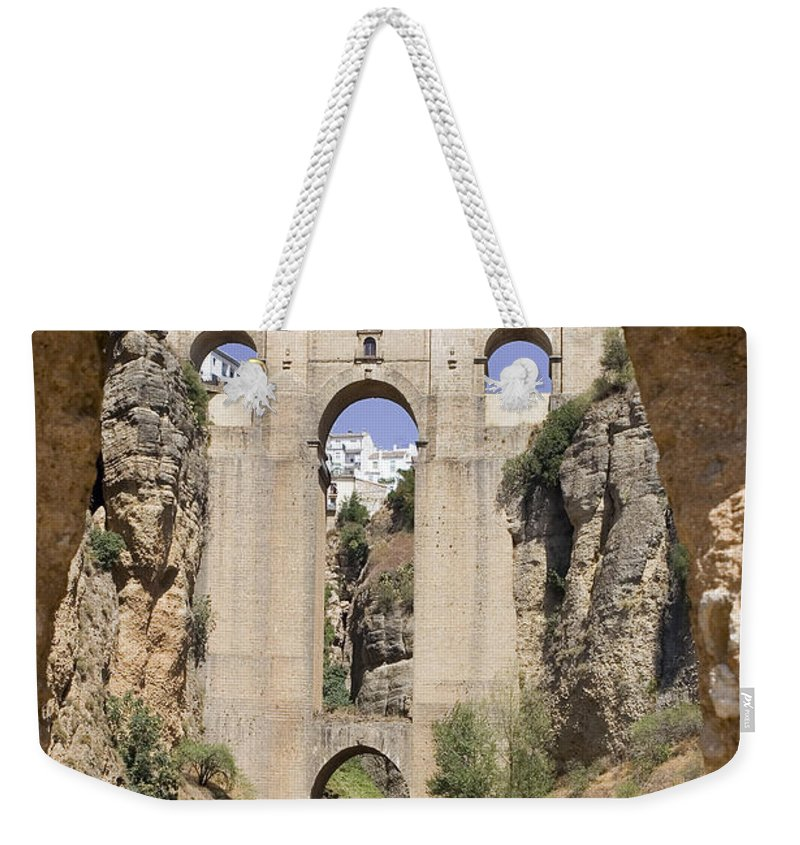 Ronda Weekender Tote Bag featuring the photograph The Tajo De Ronda And Puente Nuevo Bridge Andalucia Spain Europe by Mal Bray