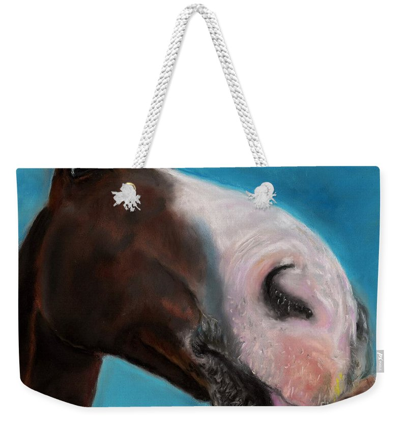 Abstract Horses Weekender Tote Bag featuring the painting The Tasty Post by Frances Marino