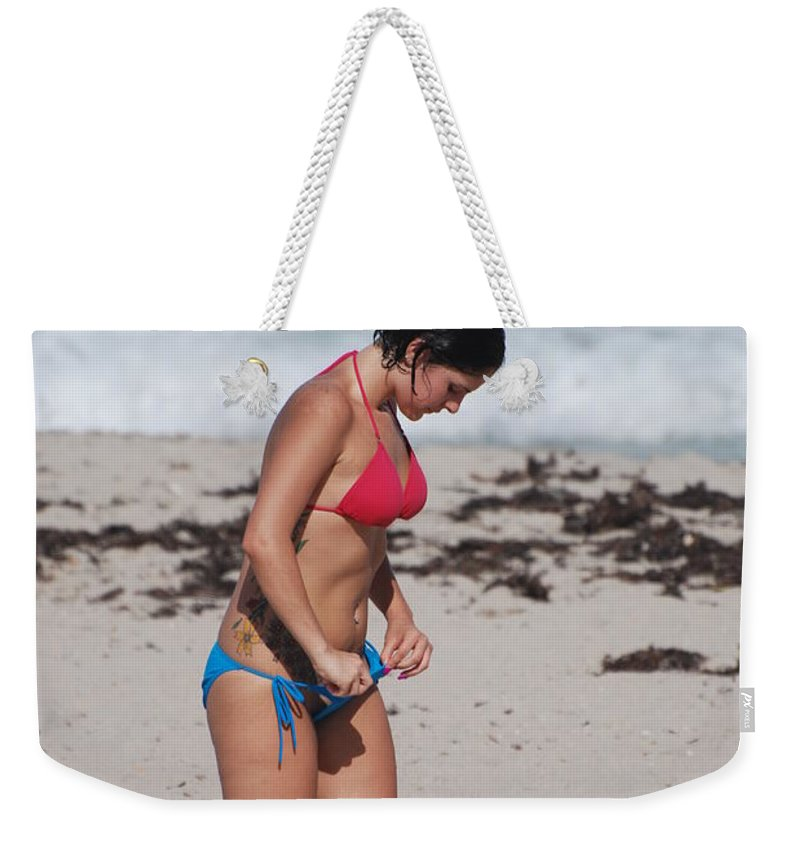Sexy Weekender Tote Bag featuring the photograph The Tattooed Ladys Peek A Boo by Rob Hans