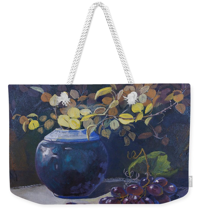 Still Life Weekender Tote Bag featuring the painting The Teal Vase by Heather Coen