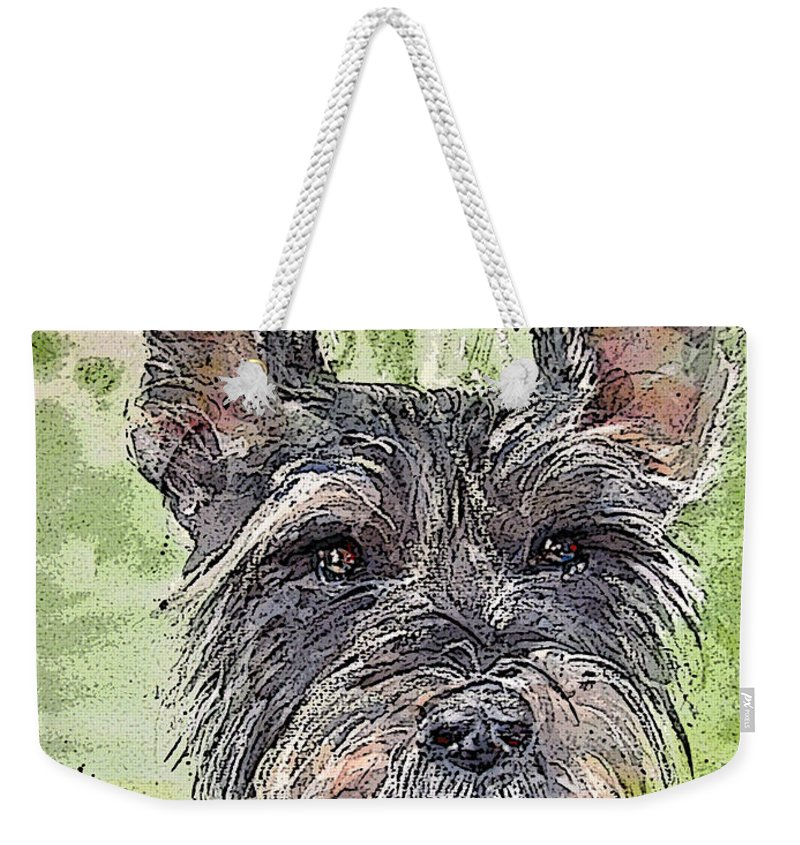 Terrier Weekender Tote Bag featuring the painting The Terrier by Shirley Sykes Bracken