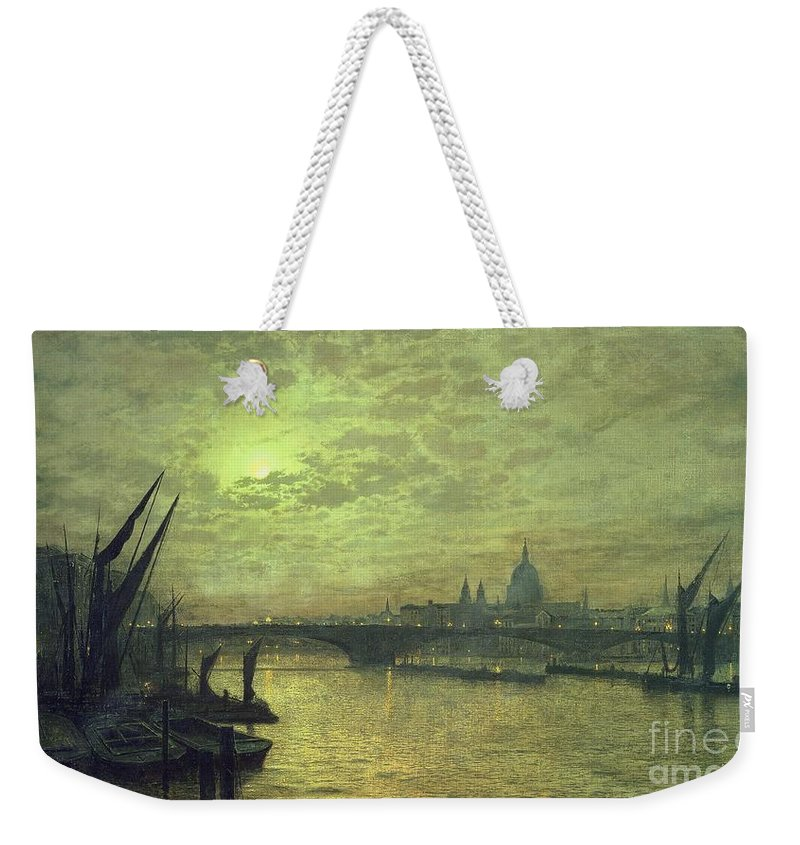 The Weekender Tote Bag featuring the painting The Thames By Moonlight With Southwark Bridge by John Atkinson Grimshaw