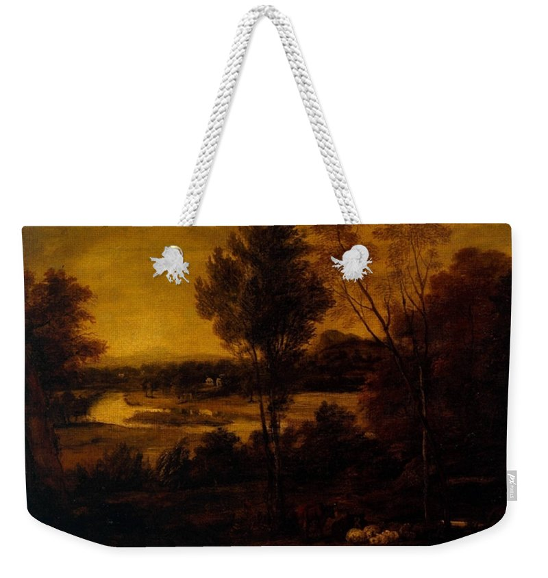 Sir Joshua Reynolds  The Thames From Richmond Hill Weekender Tote Bag featuring the painting The Thames From Richmond Hill by MotionAge Designs