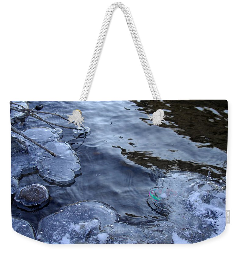Ice Weekender Tote Bag featuring the photograph The Thaw Is Coming by Donna Blackhall