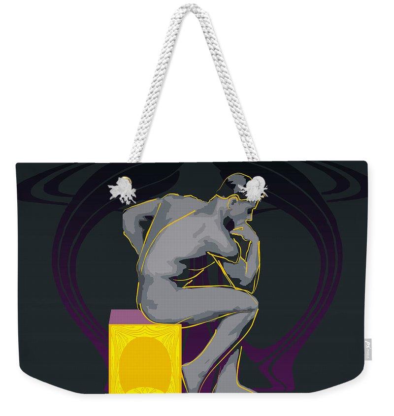 The Thinker Weekender Tote Bag featuring the digital art The Thinker - El Pensador by Quim Abella