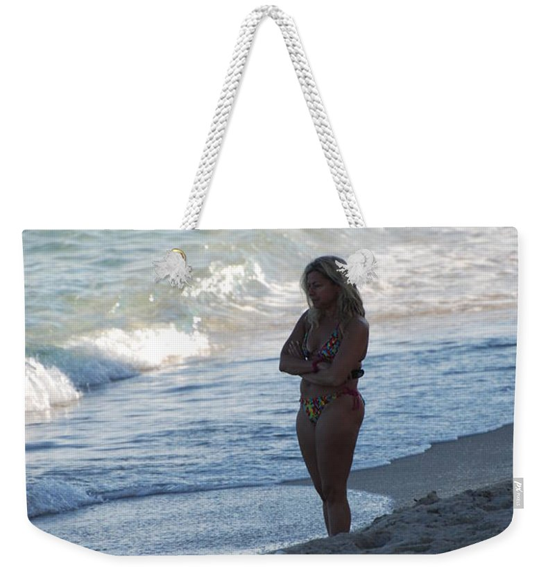 Sea Scape Weekender Tote Bag featuring the photograph The Thinking Women by Rob Hans