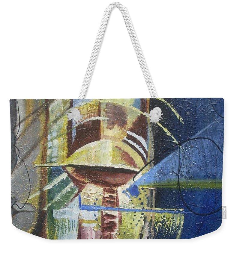 African American Weekender Tote Bag featuring the painting The Third Eye by Hasaan Kirkland