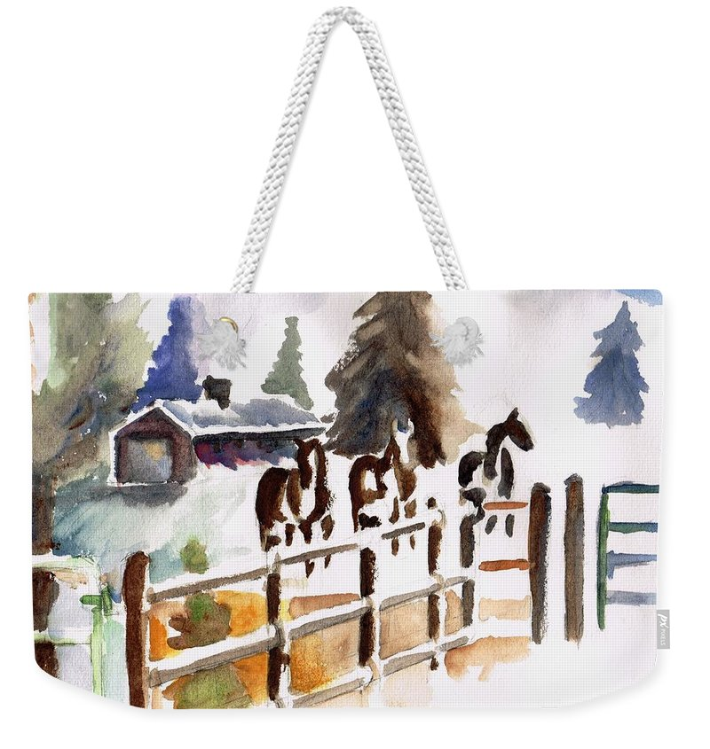 Horses Weekender Tote Bag featuring the painting The Three Amigos by Frances Marino