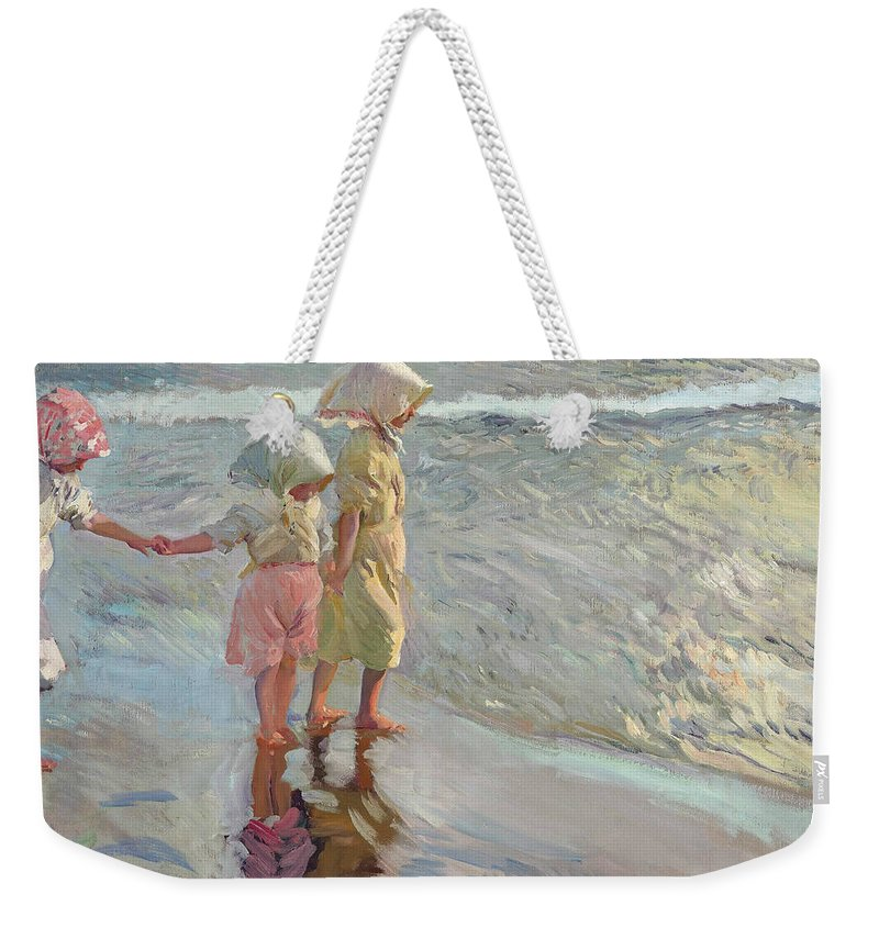 19th Century Art Weekender Tote Bag featuring the painting The Three Sisters On The Beach by Joaquin Sorolla