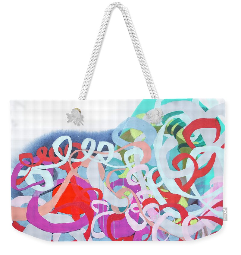 Abstract Weekender Tote Bag featuring the painting The Thrill Of It All by Claire Desjardins