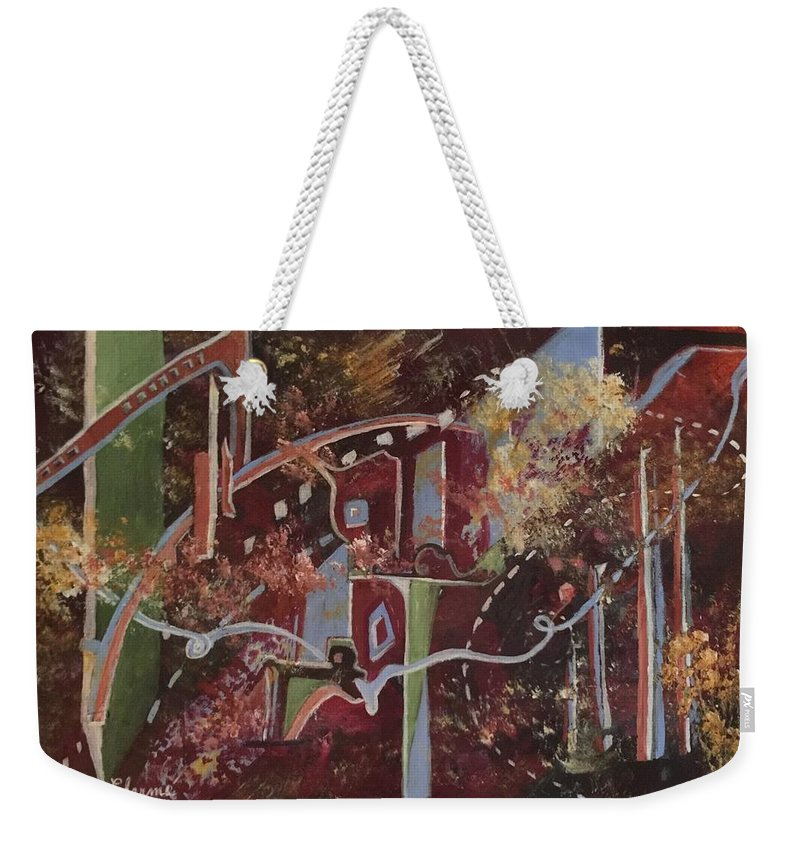 This Is An Abstract Which Has An Urban Feel To It. There Is Movement And Life In Flowing With The Ties That Bind Us All Together. Greens Weekender Tote Bag featuring the painting The Ties That Bind by Charme Curtin