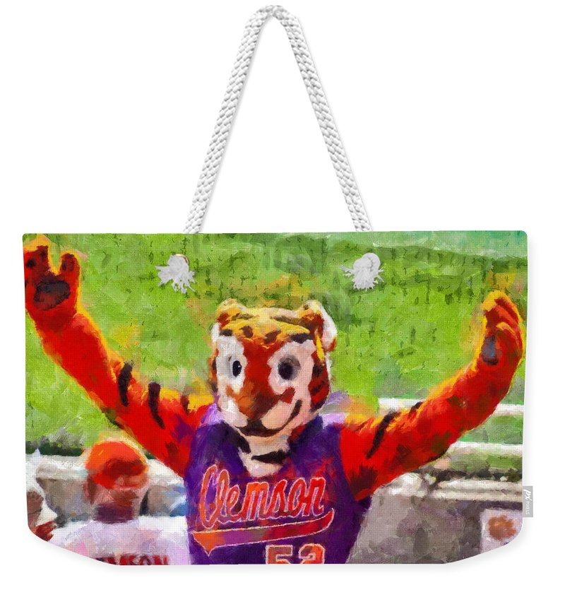 Clemson Weekender Tote Bag featuring the painting The Tiger by Lynne Jenkins