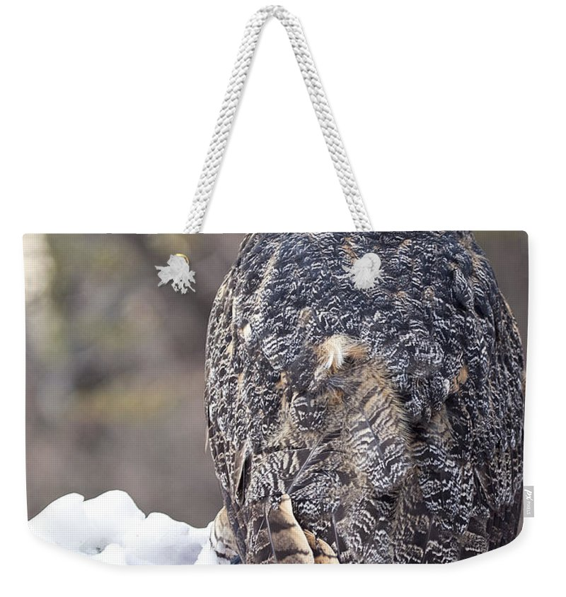 Great Horned Owl Weekender Tote Bag featuring the photograph The Tiger Of The Sky by Emma England