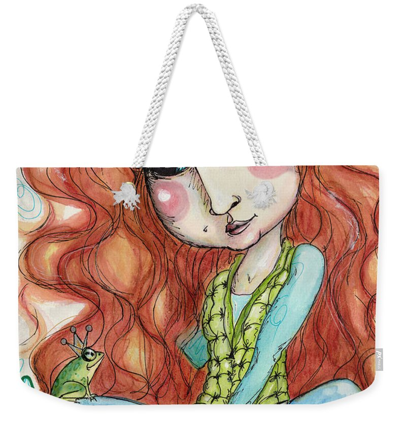 Fairy Tale Weekender Tote Bag featuring the painting The Toad Prince by Sondra Hefner - NautyCrow Studio