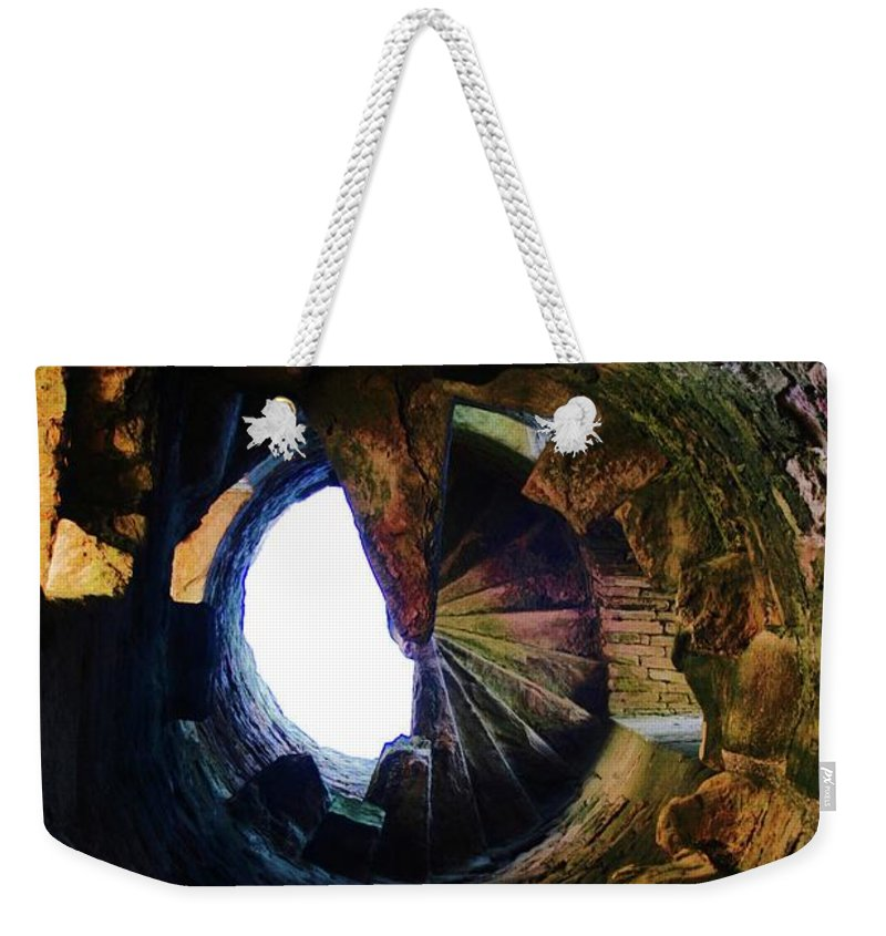 Staircase Weekender Tote Bag featuring the photograph The Tower Stairs by Hannah Goddard-Stuart