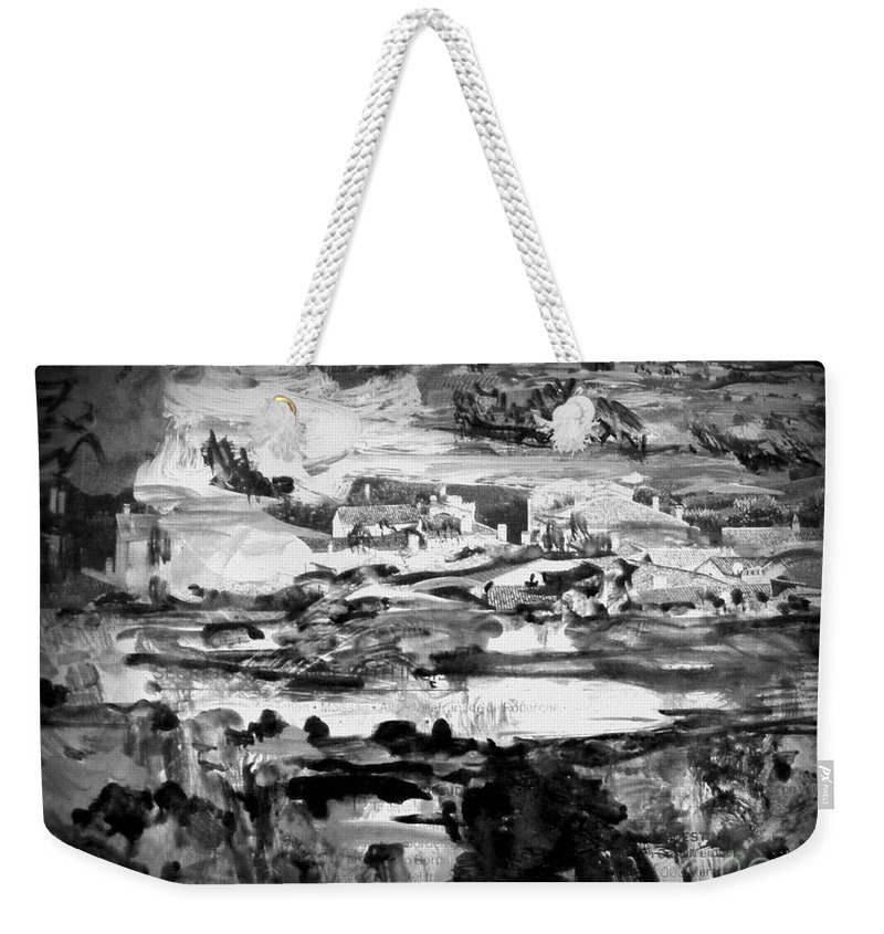 Abstract Mixed Media Landscape Weekender Tote Bag featuring the painting The Town by Nancy Kane Chapman