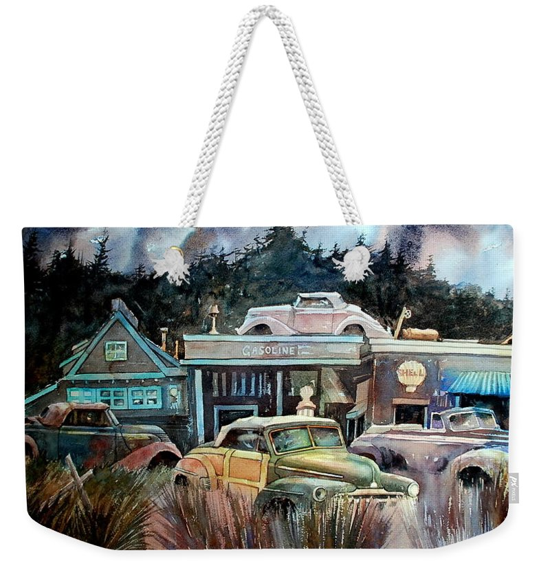 Stores Cars Trees Weekender Tote Bag featuring the painting The Trading Post by Ron Morrison