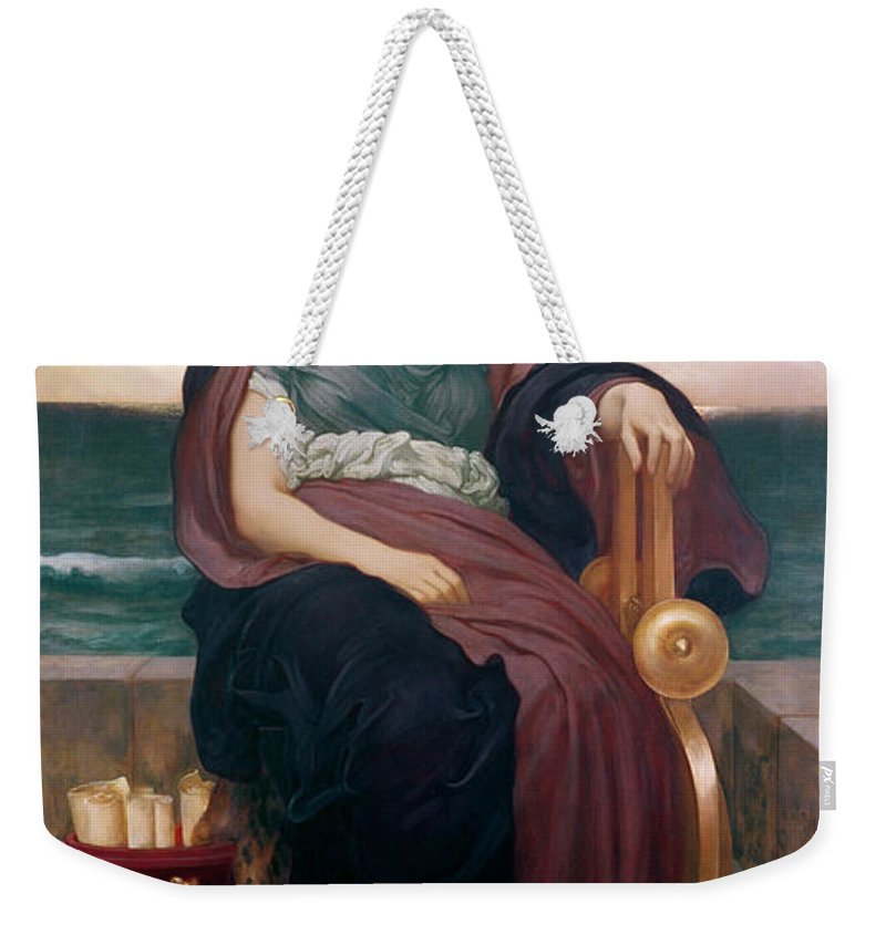Tragic Weekender Tote Bag featuring the painting The Tragic Poetess by Frederic Leighton