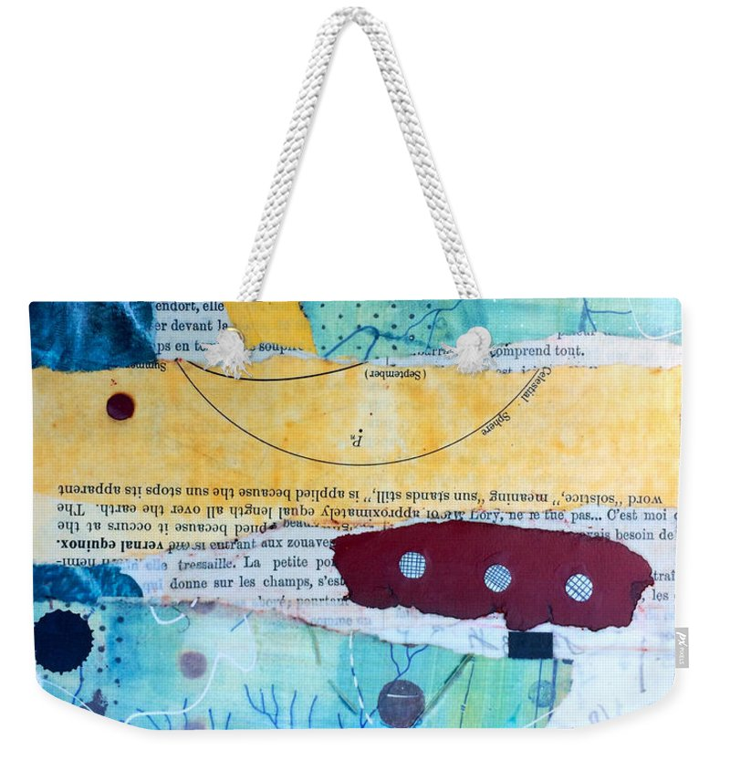 Blue Weekender Tote Bag featuring the mixed media The Traveler by Piper Deggan