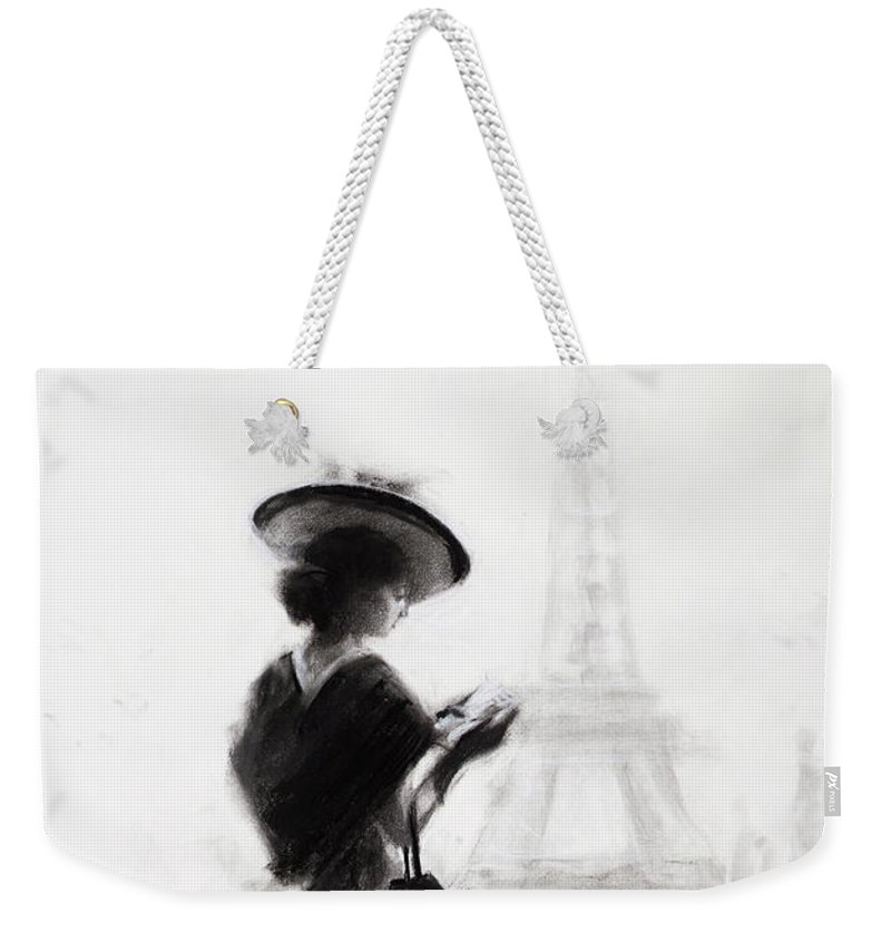 Woman Weekender Tote Bag featuring the painting The Traveler by Steve Henderson