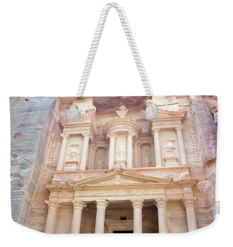 Petra Weekender Tote Bag featuring the photograph The Treasury - Jordan by Munir Alawi