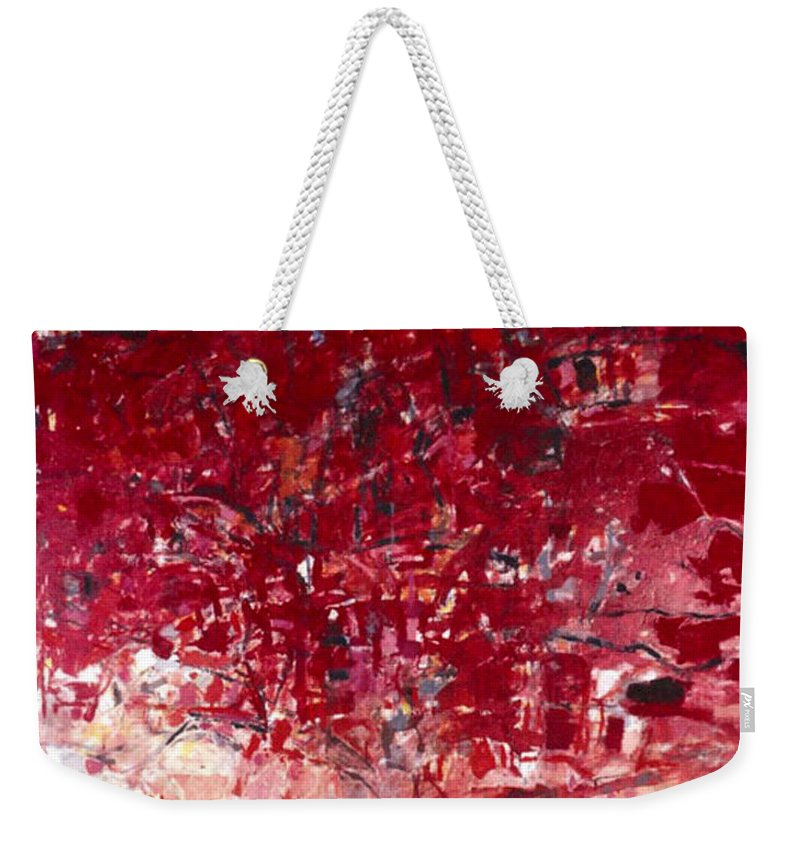 Landscape Weekender Tote Bag featuring the painting The Tree Crown by Vladimir Vlahovic