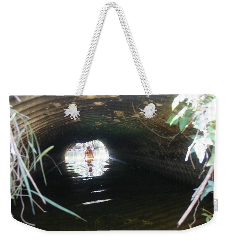 Lucky Cole Everglades Photographer Female Nude Everglades Weekender Tote Bag featuring the photograph The Tunnel 2 by Lucky Cole