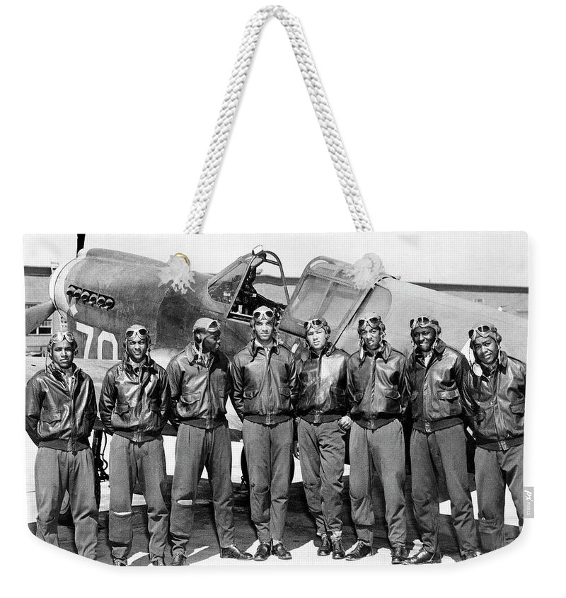 The Tuskegee Airmen Circa 1943 Weekender Tote Bag featuring the photograph The Tuskegee Airmen Circa 1943 by David Lee Guss