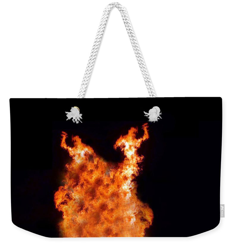 Fire Weekender Tote Bag featuring the photograph The Twin by Munir Alawi