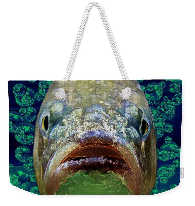 Fish Weekender Tote Bag featuring the digital art The Ugliest Fish Ever by Diane Parnell