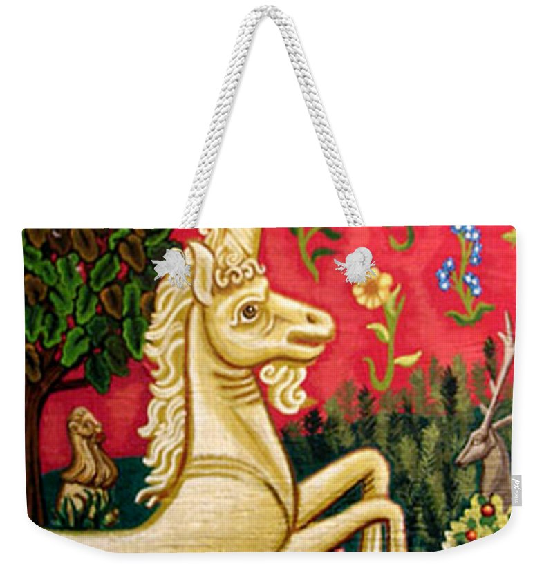 Unicorn Weekender Tote Bag featuring the painting The Unicorn by Genevieve Esson