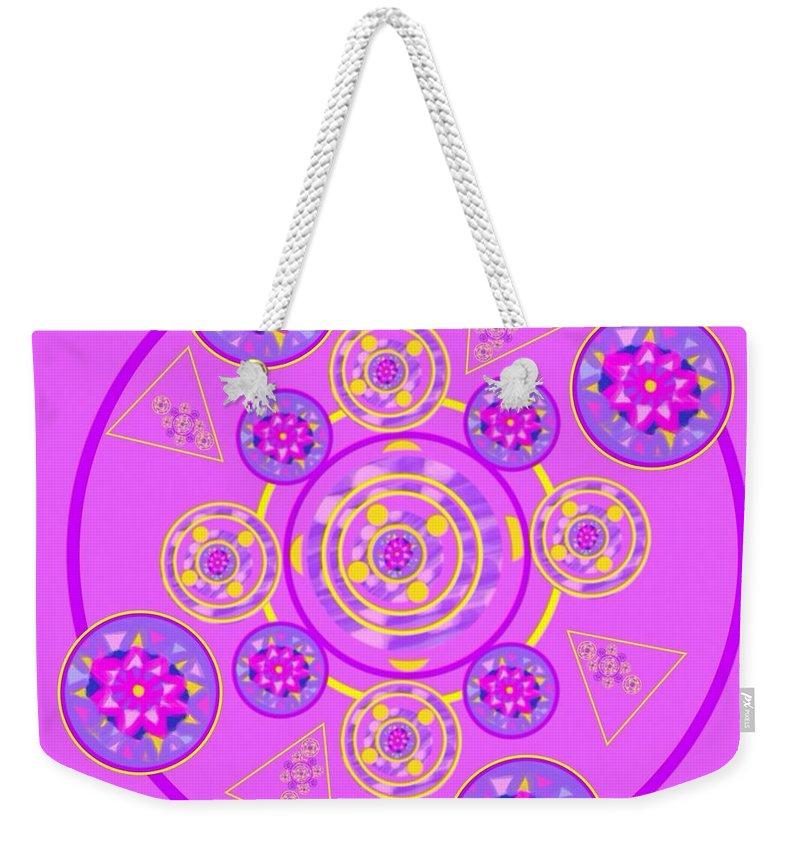 Mandala Weekender Tote Bag featuring the digital art The Universal Spin Of Violet by Joan Ellen Gandy