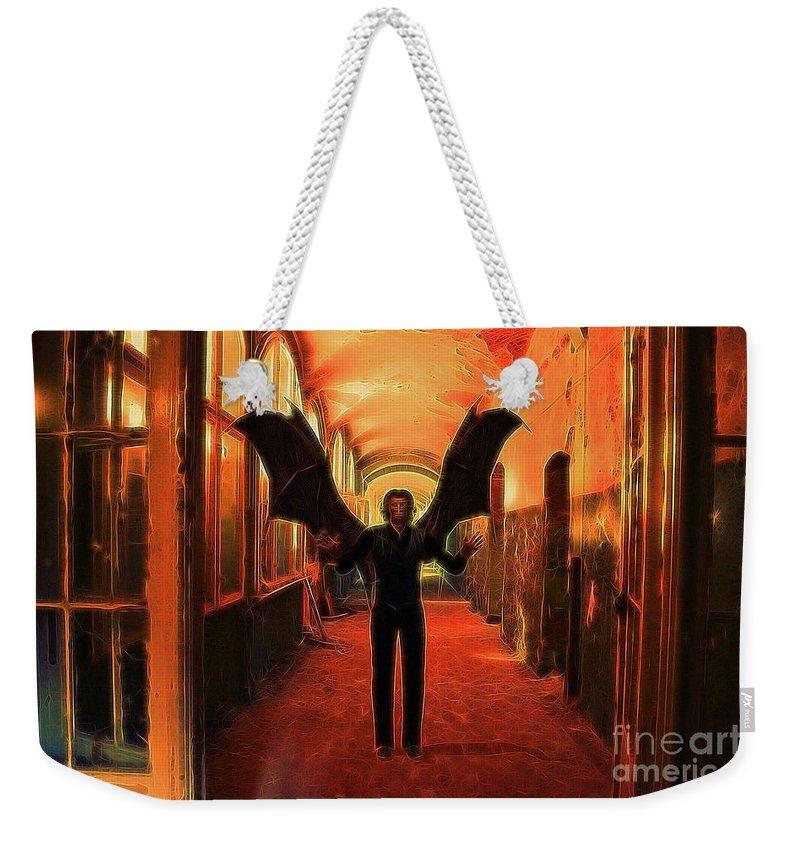 Demon Weekender Tote Bag featuring the digital art The Vampire Beckons by Raphael Terra