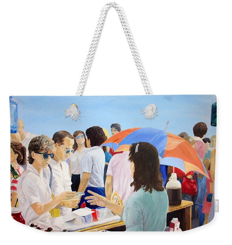 People Weekender Tote Bag featuring the painting The Vendor by Steve Karol