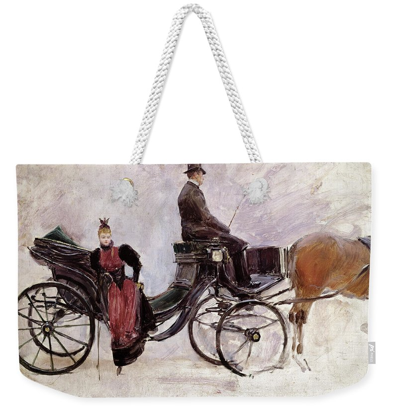 The Weekender Tote Bag featuring the painting The Victoria by Jean Beraud
