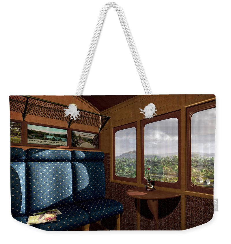 Train Weekender Tote Bag featuring the digital art The View From Marion Station by Cynthia Decker