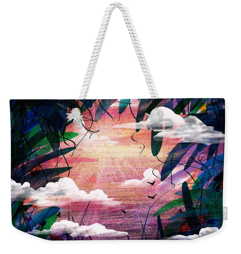 Abstract Weekender Tote Bag featuring the digital art The View From Up Here by Rachel Christine Nowicki