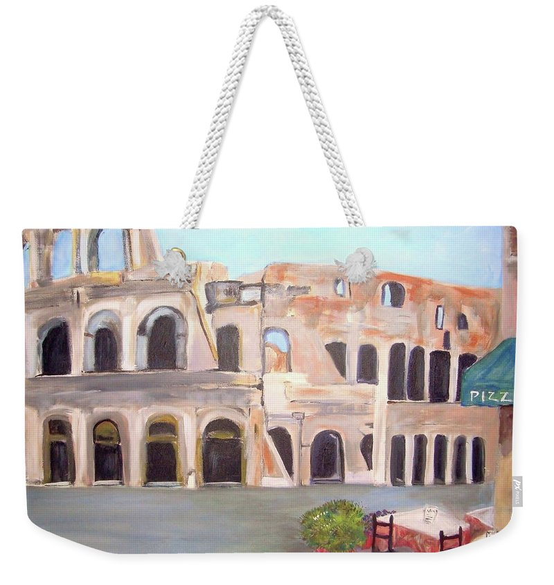 Cityscape Weekender Tote Bag featuring the painting The View Of The Coliseum In Rome by Teresa Dominici
