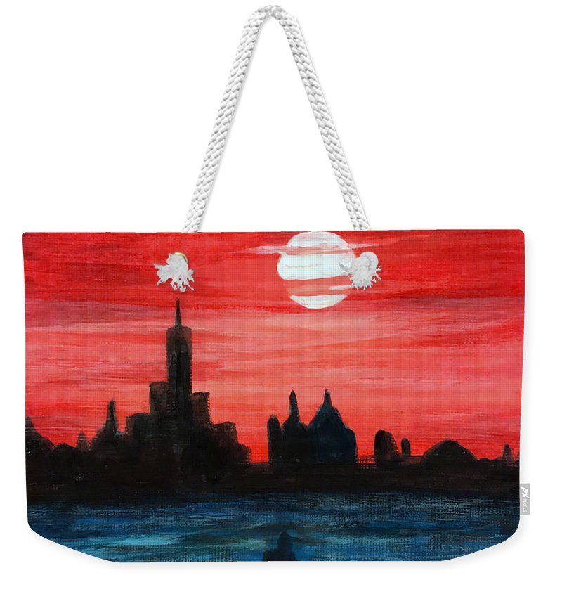 Sunset Weekender Tote Bag featuring the painting The View by Wonju Hulse
