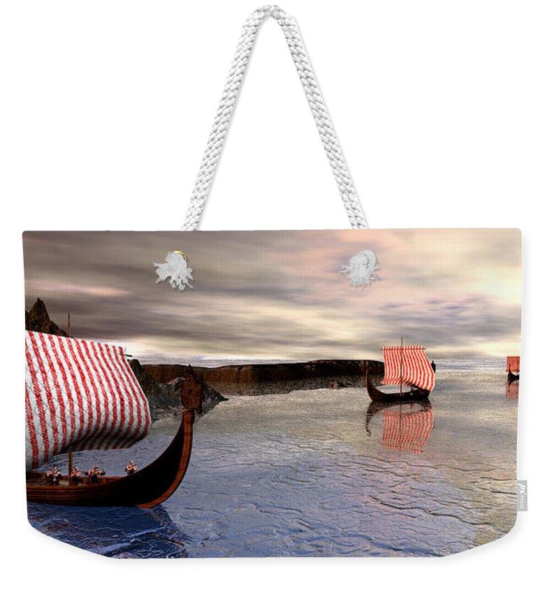 Fanasty Art Weekender Tote Bag featuring the digital art The Vikings Are Here by John Junek