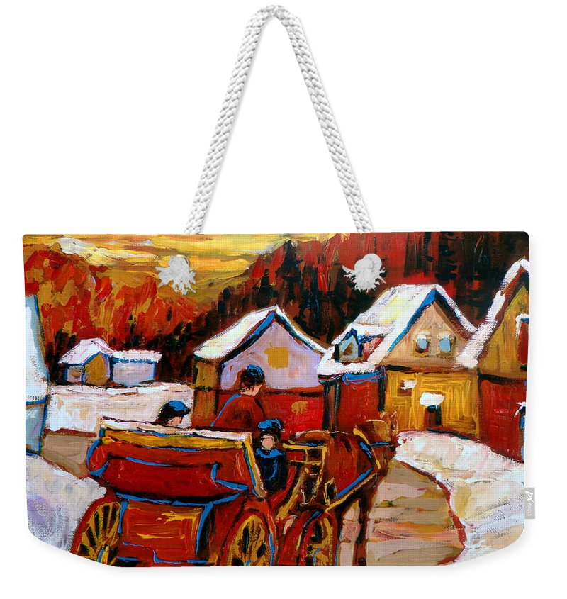 Saint Jerome Weekender Tote Bag featuring the painting The Village Of Saint Jerome by Carole Spandau