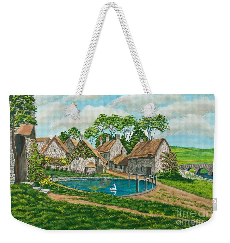 English Painting Weekender Tote Bag featuring the painting The Village Pond In Wroxton by Charlotte Blanchard