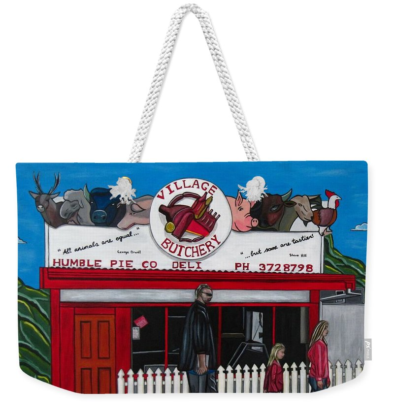 Buildings Weekender Tote Bag featuring the painting The Village by Sandra Marie Adams